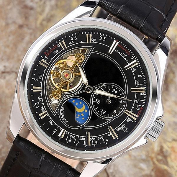 875d2e9fd0db Compre Reloj Tourbillon Clásico Correa De Cuero Reloj Mecánico Automático  Correa De Cuero Reloj De Pulsera Para Hombres Con Caja De Regalo A  54.83  Del ...