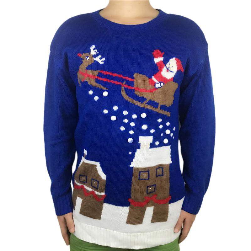 94a9a4aed63 Funny Knitted Light Up Ugly Christmas Sweater For Men And Women Kawaii  Ladies Knit Pom Pom Santa Xmas Pullover Jumper Plus Size UK 2019 From  Odeletta