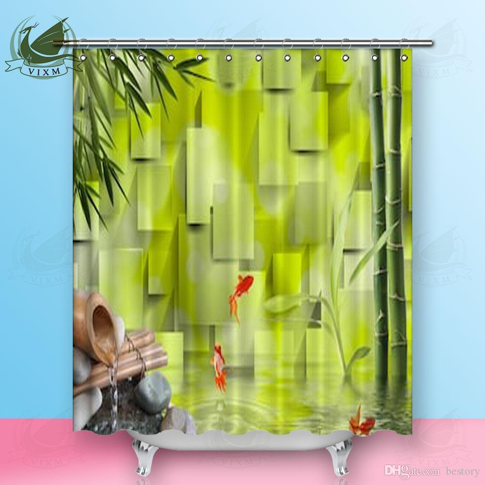 2018 Vixm 3D Green Background Bamboo Water Goldfish Shower Curtains Polyester Fabric For Home Decor From Bestory 1665