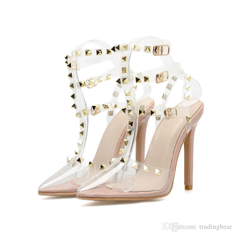 Luxury women designer clear nude transparent rivets studded pointed stiletto pumps size 35 to 40