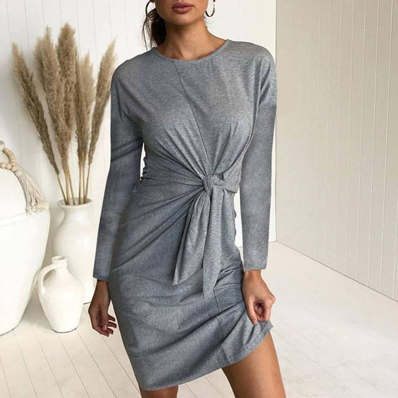 05e744e2ab0 Sexy Women Knitted Sweater Dress Lace Up O Neck Package Hip 2019 Autumn  Winter Dress Long Sleeve Bow Midi Dress Femme Vestidos Long Sundresses On  Sale Women ...