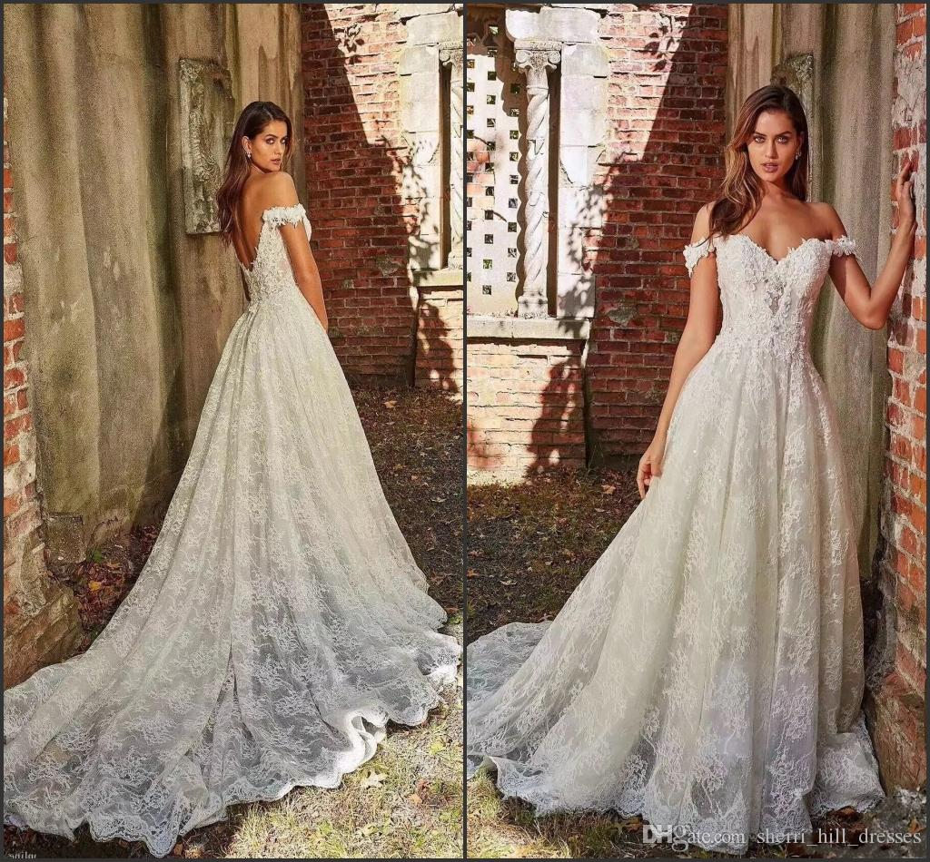 Hot Off The Shoulder White A-Line Lace Wedding Dresses Appliques With Court Train Long Bridal Gown Sexy Back Wedding Gowns DH5002