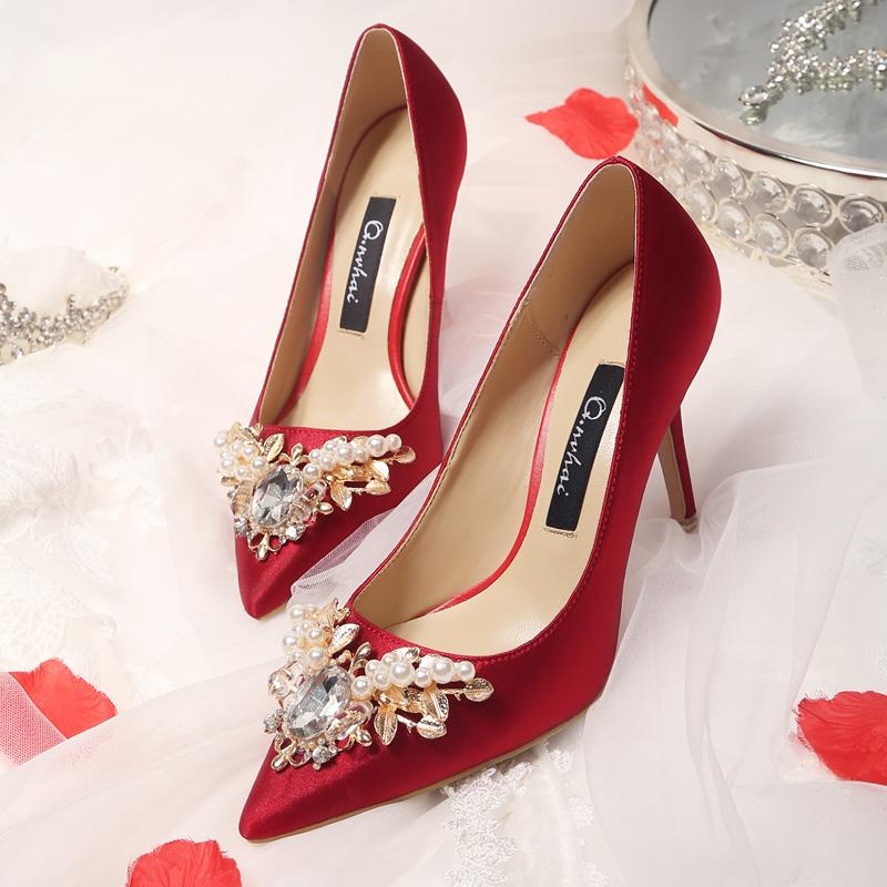41b968e4c58 Xiuhe Satin Wine Red Pointy High Heels Wedding Shoes Chinese Water Drill Red  Bride On Sedan Shoes Thick Heels Flat Bottom Wedding Shoes Turquoise Shoes  ...