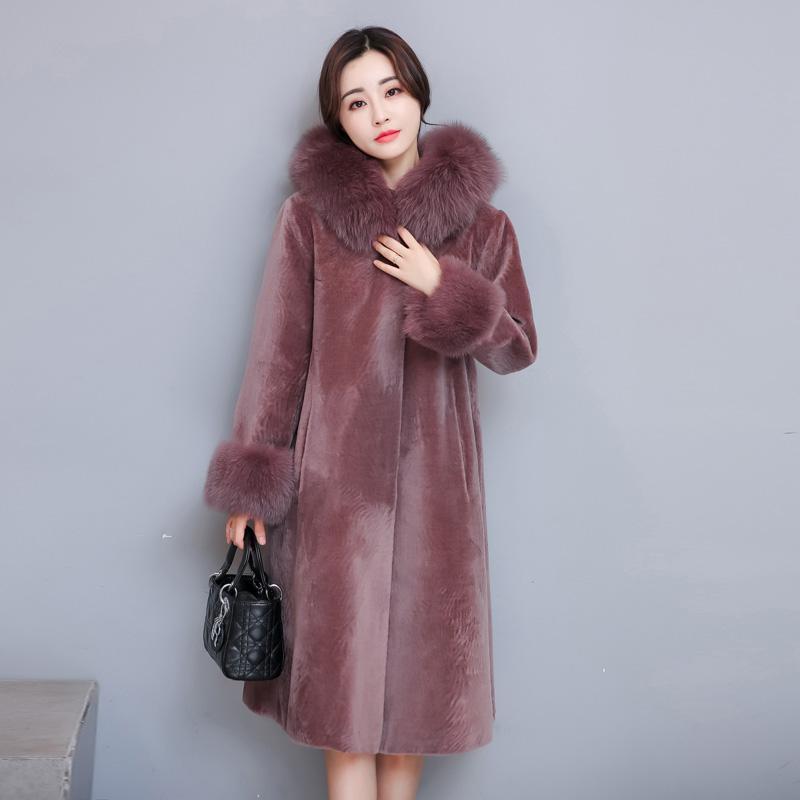 0575e03b510 2018 New Winter Cashmere Fur Coat Female Warm Long Jacket Fox Fur ...