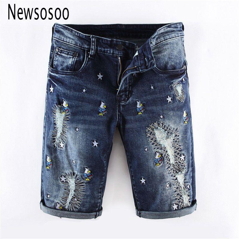 fad26eb475e78d Verão estilo homens buraco azul Shorts jeans moda masculina jeans famosa  marca de algodão fino Calças jeans reta Shorts