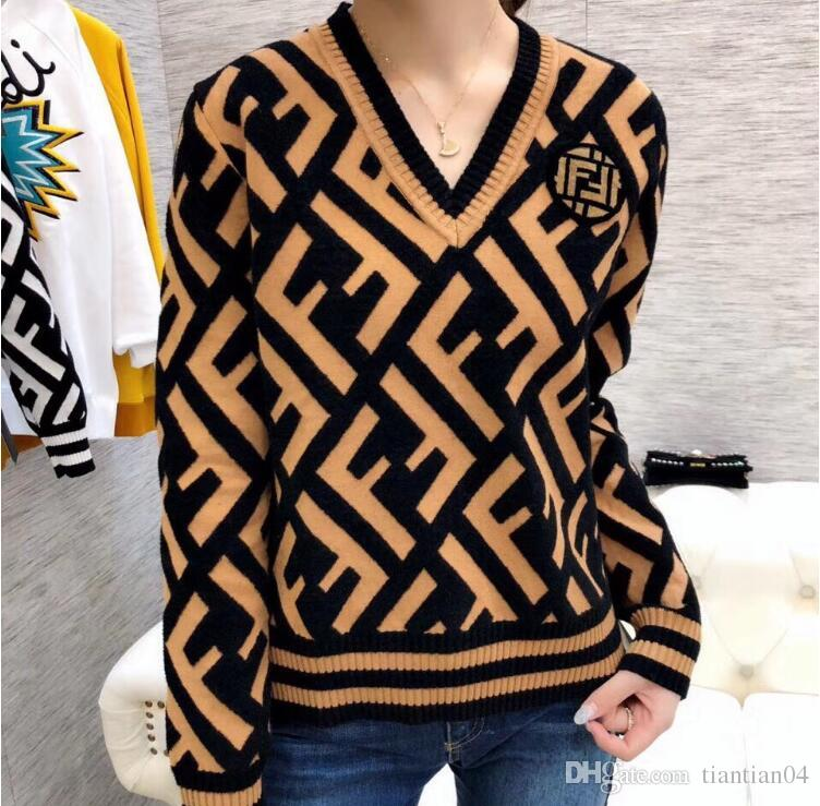 Women's Knits & Tees High-end custom 18 early autumn new V-collar logo pattern printed wool sweater women's knitted sweater