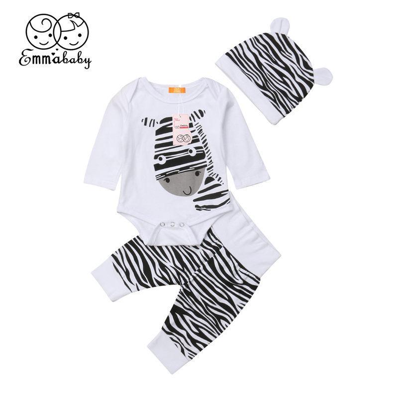 339dc13cc Conjunto de ropa de bebé recién nacido conjunto Ropa infantil Bebé niño  algodón pantalones pantalones cebra niños traje 0-6M
