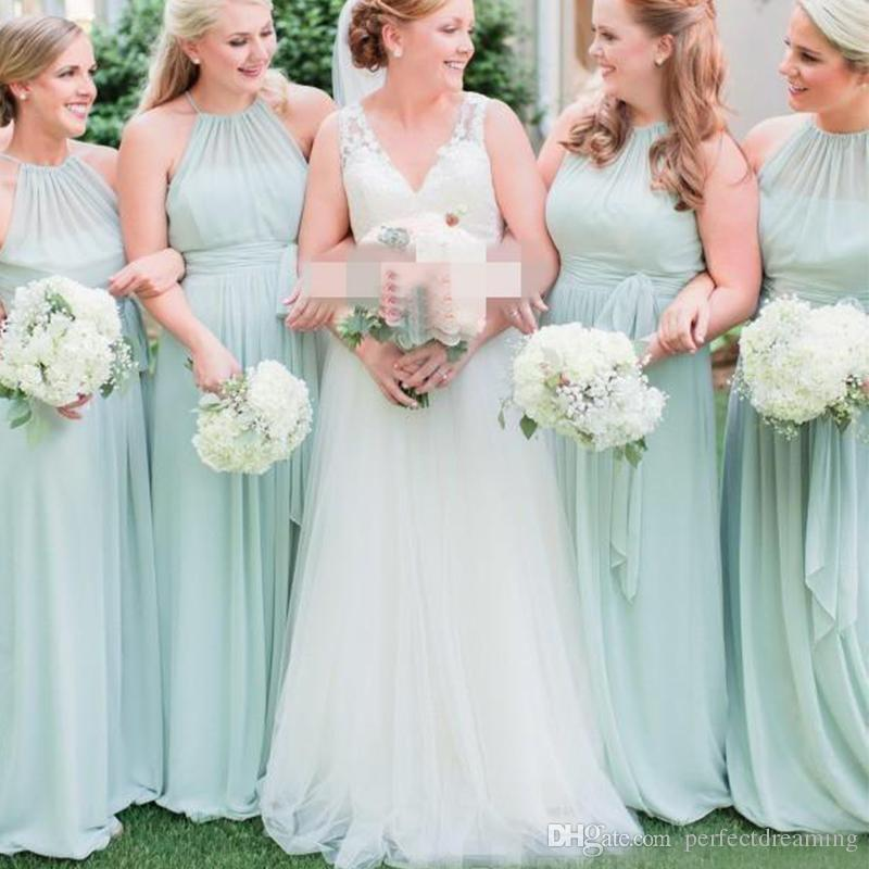 26f254e00a486 2019 Elegant Sage Green Halter Pleats Chiffon Bridesmaid Dresses Long Boho  Country Wedding Party Dress Maid of Honor Formal Gowns Custom