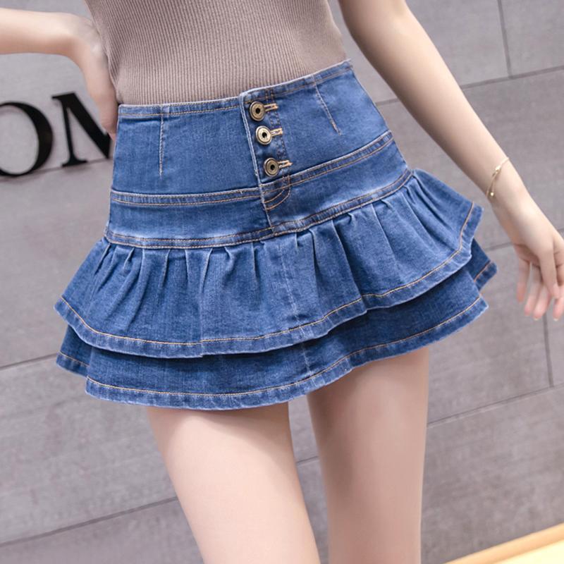 3f57165ab Cintura alta de mezclilla mini falda de verano para mujer faldas cortas  Sexy Saia Jeans mujer volantes botón Jupe Femme tallas grandes falda de las  ...