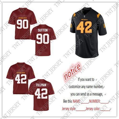 buy popular 9c617 37e20 Cheap wholesale Arizona State Sun Devils Football jerseys #42 Pat Tillman  #90 Will Sutton Stitch customiz any name number
