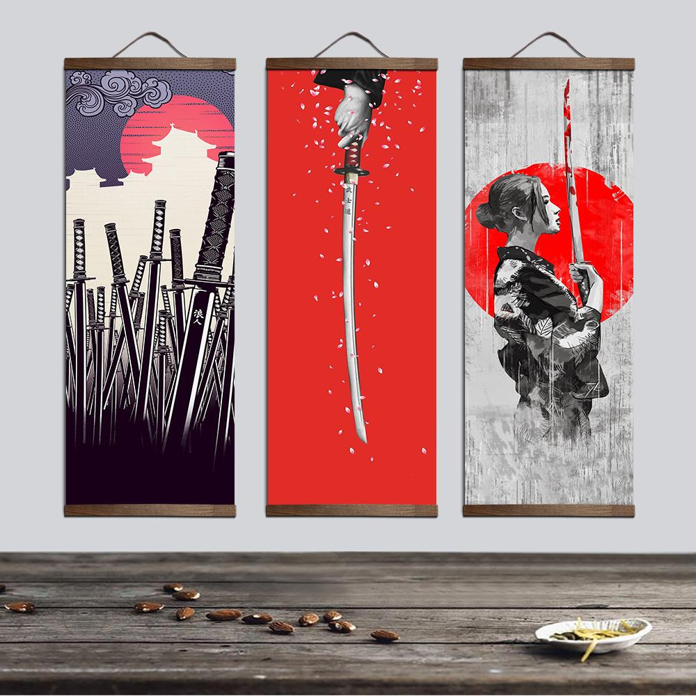 Japanese Ukiyoe For Canvas Posters And Prints Decoration Painting Wall Art Home Decor With Solid Wood Hanging Scroll Q190426