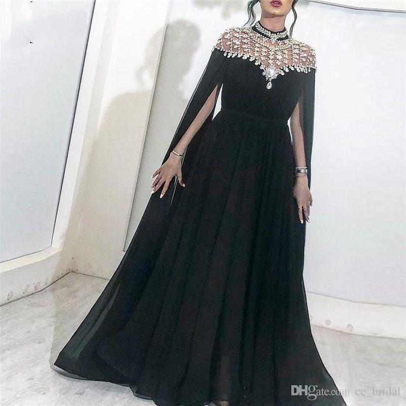 ff0252cade4 Sparkly Black Crystals Arabic Prom Dresses 2019 High Neck Caped Long Chiffon  African Dubai Celebrity Evening Party Gowns Vestido De Festa Short Formal  ...