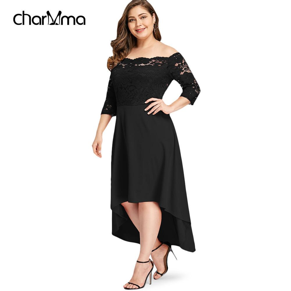 2019 Summer Dress Plus Size Off Shoulder High Low Lace Dip Hem Party ...