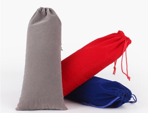20 pçs / lote 10x25 cm Preto / Vermelho / Azul / Rosa / Cinza de Prata Com Cordão Saco De Veludo Sacos De Garrafa De Vinho Para O Natal Saco De Embalagem Bolsa