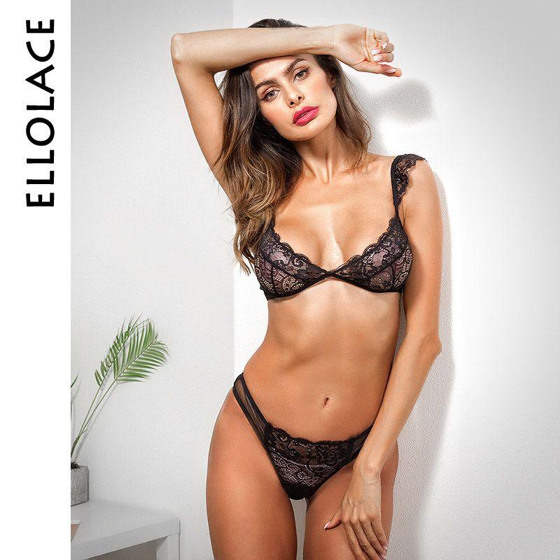 70c8e74c15b1 Ellolace Sexy lace bra and panty set 2019 women's lingerie hot transparent  lady underwears set fashion black bras new sale