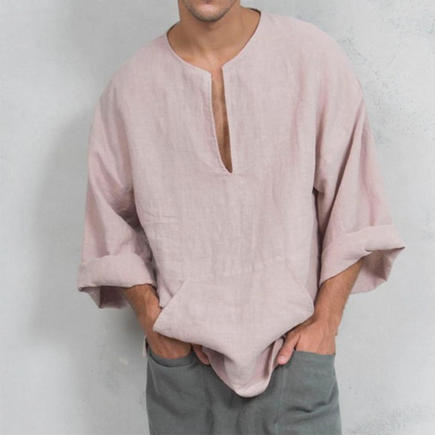 97d3f26a20f Men Autumn Solid Casual Shirt Fashion Long Sleeve Cotton Linen Men ...