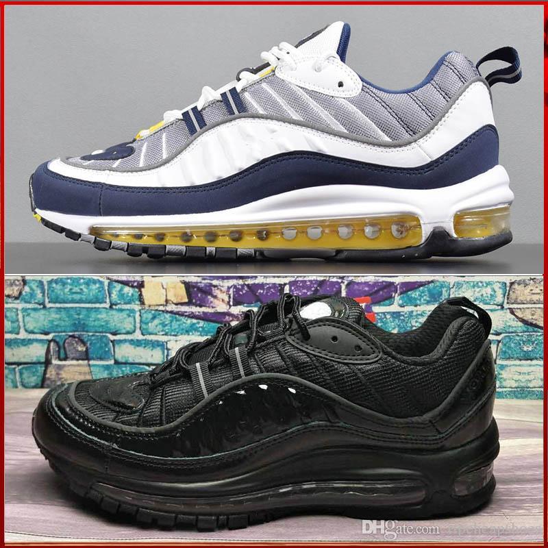 new concept 5e988 c07dc Compre Nike Air Max 98 Airmax 98 X OG Zapatos Casuales Azules Y Negros De  Los Hombres Zapatos Casuales Limitados Moda Carreras Hombres Y Mujeres ...