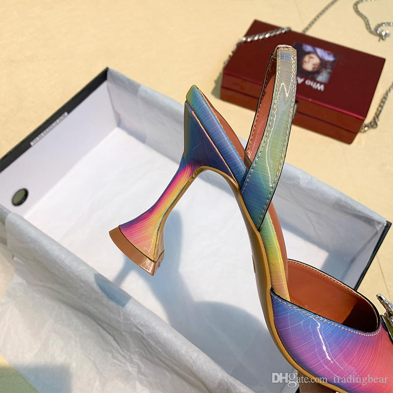 plus size 34 to 42 real leather rainbow crystal flower clear shoes sexy designer pumps wedding shoes party evening 9cm tradingbear
