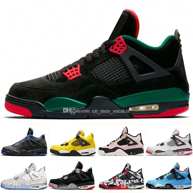 With Box High Quality New Bred 4 4s What The Cactus Jack Laser Wings Mens Basketball Shoes Black Pale Citron Men Sports Designer Sneakers