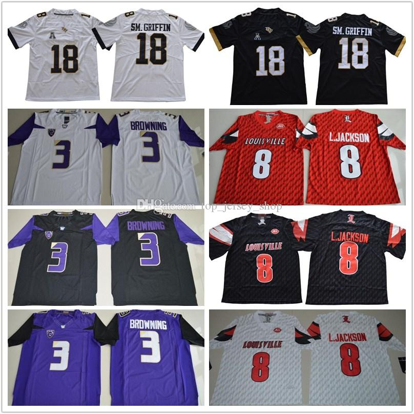 outlet store b5ffd 09d4b Men s 18 Shaquem Griffin Jersey black white #8 Lamar Jackson red Huskies #3  Jake Browning purple UCF Knights college football jerseys