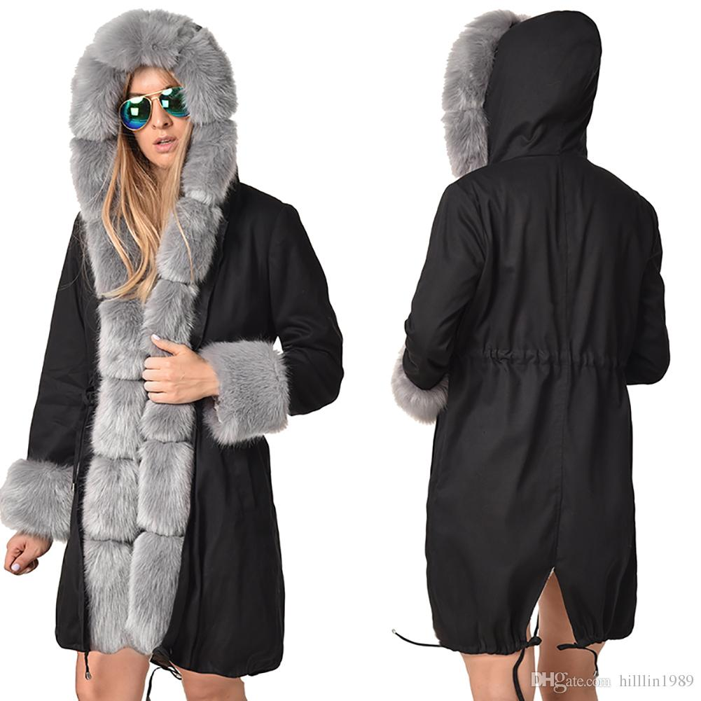 84326e95348 2019 Black Solid Color Winter Women S Trench Coats Fashion Three Quarter  Coat Faux Fur Collar Outerwear Fur Hooded Dust Coat From Hilllin1989