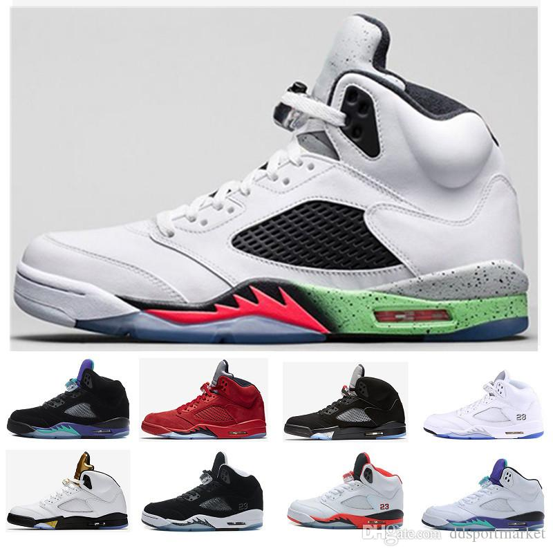sports shoes acf9d 38ad9 Acheter Nike Air Jordan 5 5S OG Aj 5 Retro 5 5s Ailes Vol International  Hommes Chaussure De Basket Ball Médaille D or Olympique Rouge Bleu Daim OG  Métallisé ...
