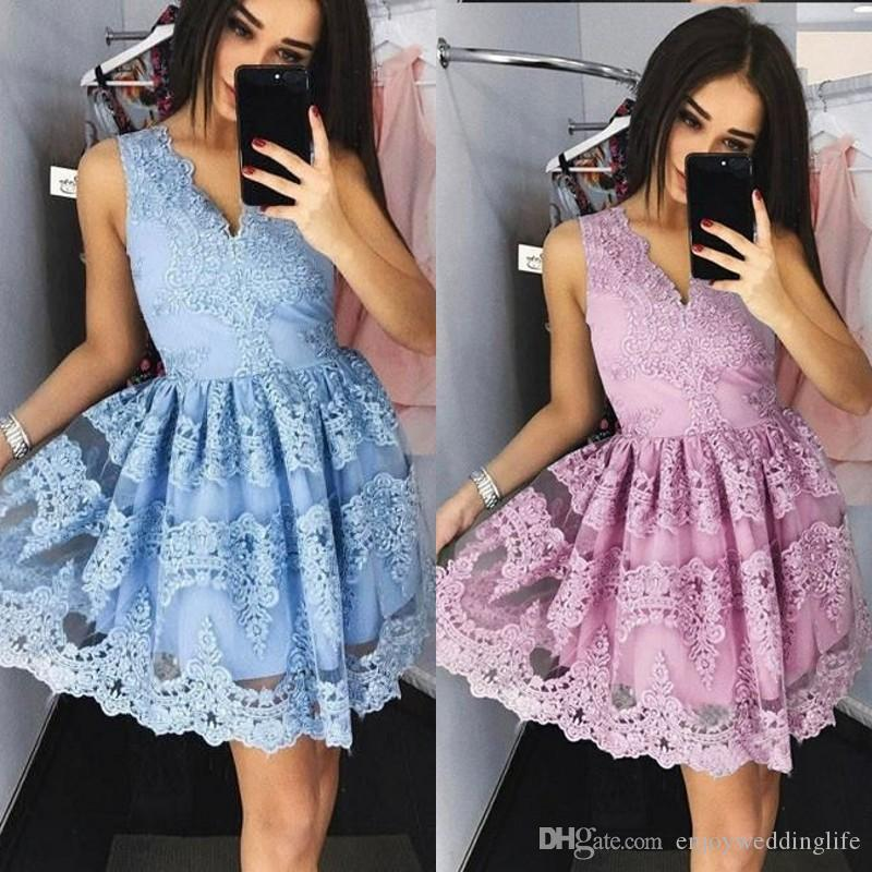 Dusty Rose Lace V Neck Short Cocktail Dresses 2020 Sleeveless Prom Party Dress Graduation Homecoming Dress vestido corto
