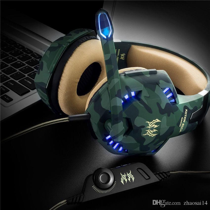 DHL ship Camouflage Gamer Stereo Gaming Headset With Microphone Mic 3 5mm  Audio Y Splitter Gaming Headphone For Computer PC Games Laptop