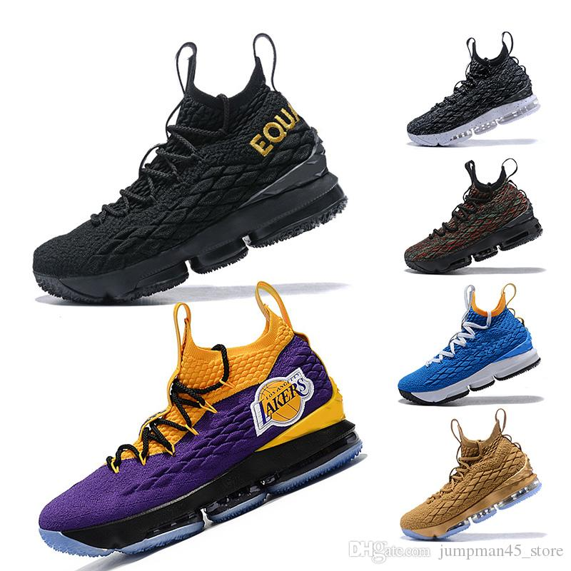 hot sale online 9960e 7ad39 EQUALITY Lakers LBJ 15s 15 Basketball Shoes Black White CAVS Mens shoes 15s  EP designer trainers mens sneakers Size 7-12