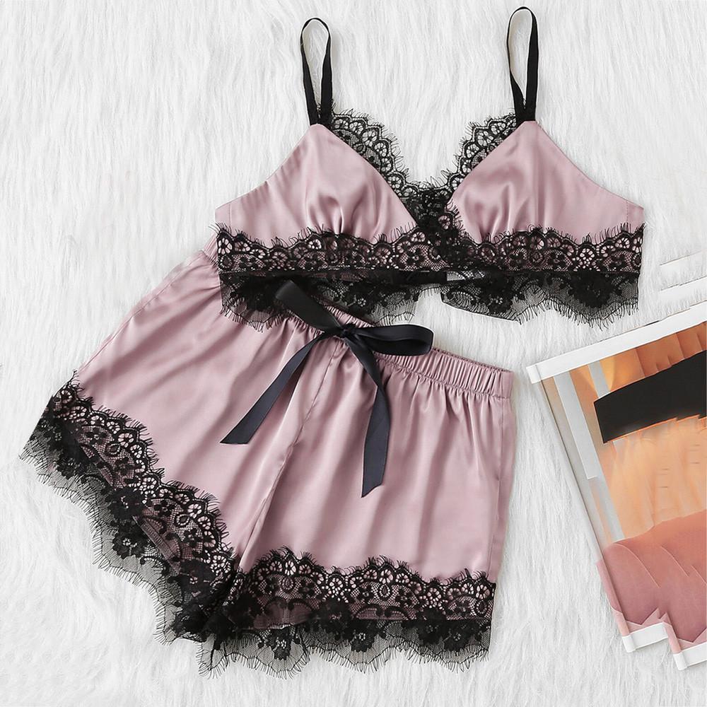 2b9a6573f8e 2019 2018 Hot Lace Trim Velvet Cami   Shorts Pajamas Set Women Burgundy  Plain Spaghetti Strap Sleeveless Sexy Summer Sleepwear S77!!!