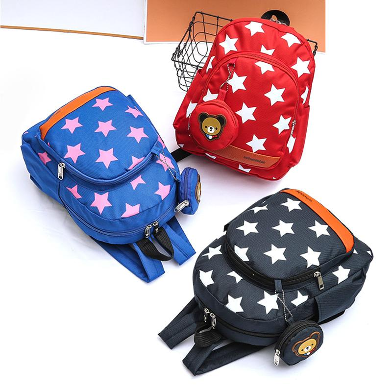 Kids Kindergarten School Bags Stars Print Nylon Books Shoulder Bag Children Backpacks Baby Boys Girls Nursery Cute Rucksack