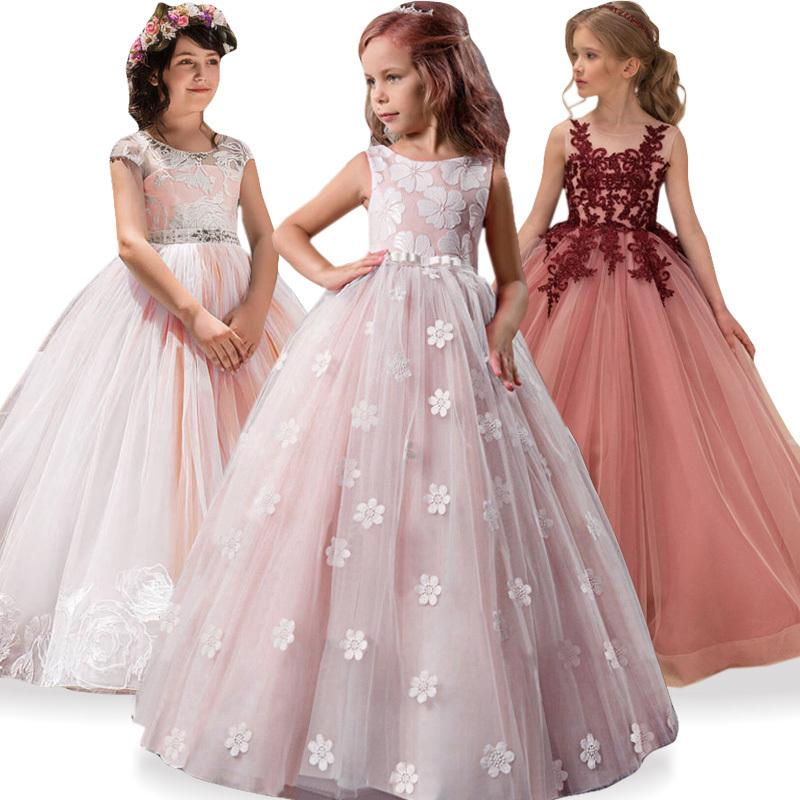 a9afe3985a38f Kids Bridesmaid Wedding Flower Girls Dress For Girls Party Dresses Children  Princess Dresss Teenage Girl Clothing 8 9 10 12 Year Y190516