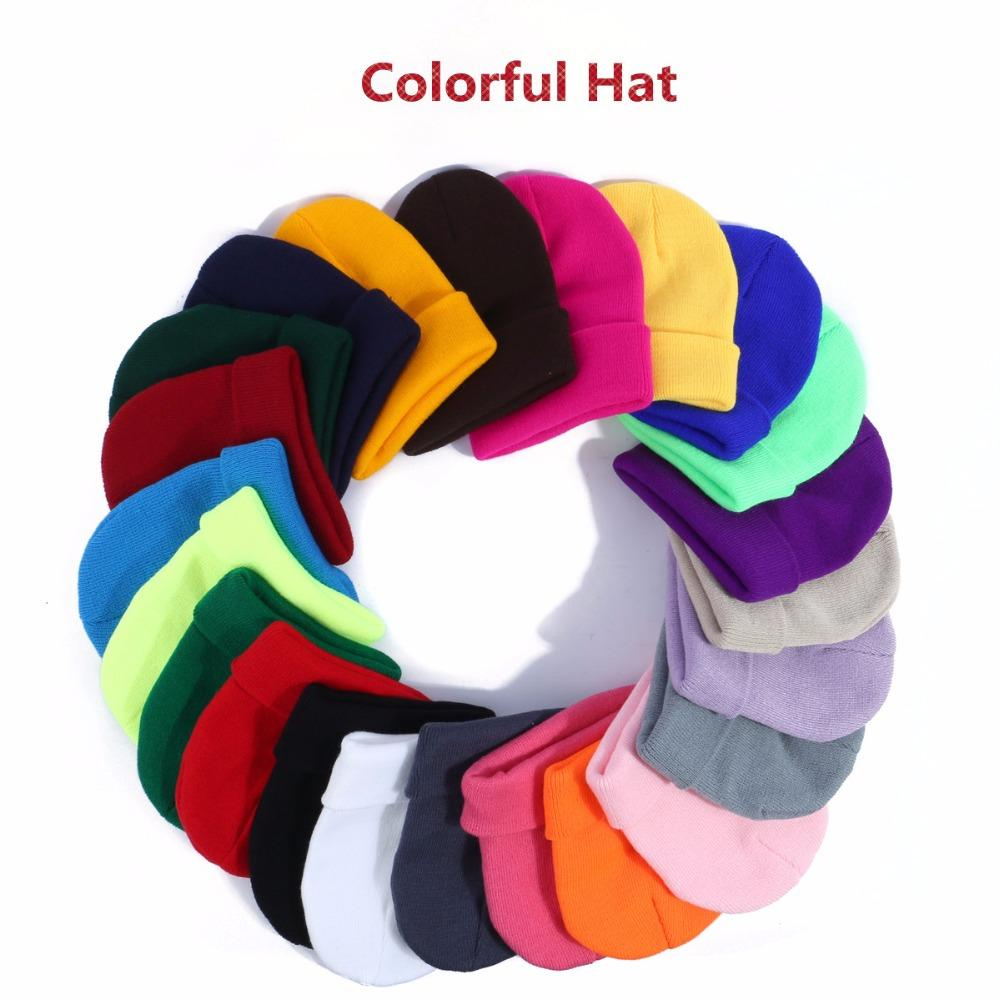 8b16fbf972cbe Hot Sale! Women s Hat 2018 Elastic Colorful Solid Beanie Winter Hats ...