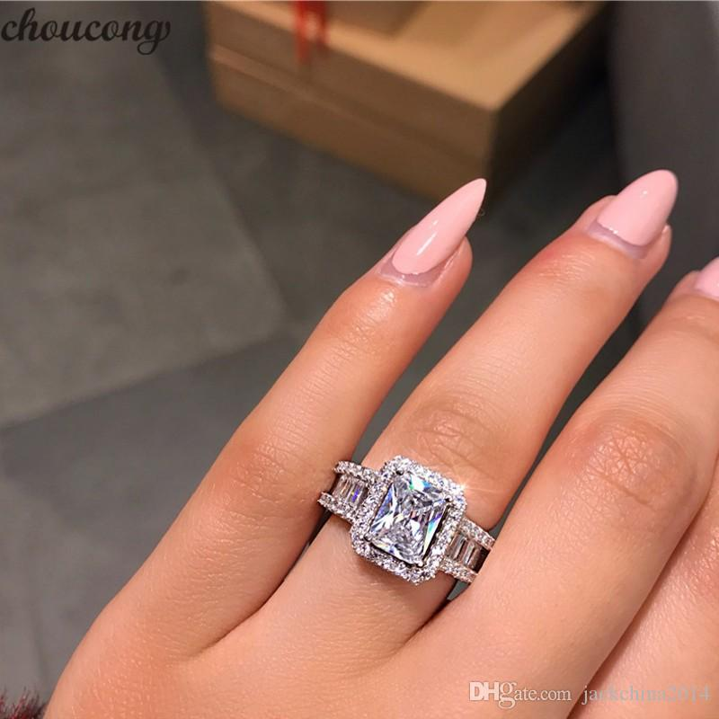 Choucong Hot Sale Stunning Luxury Jewelry Real 925 Sterling Silver Princess Cut White Topaz CZ Diamond Eternity Wedding Band Ring for Women