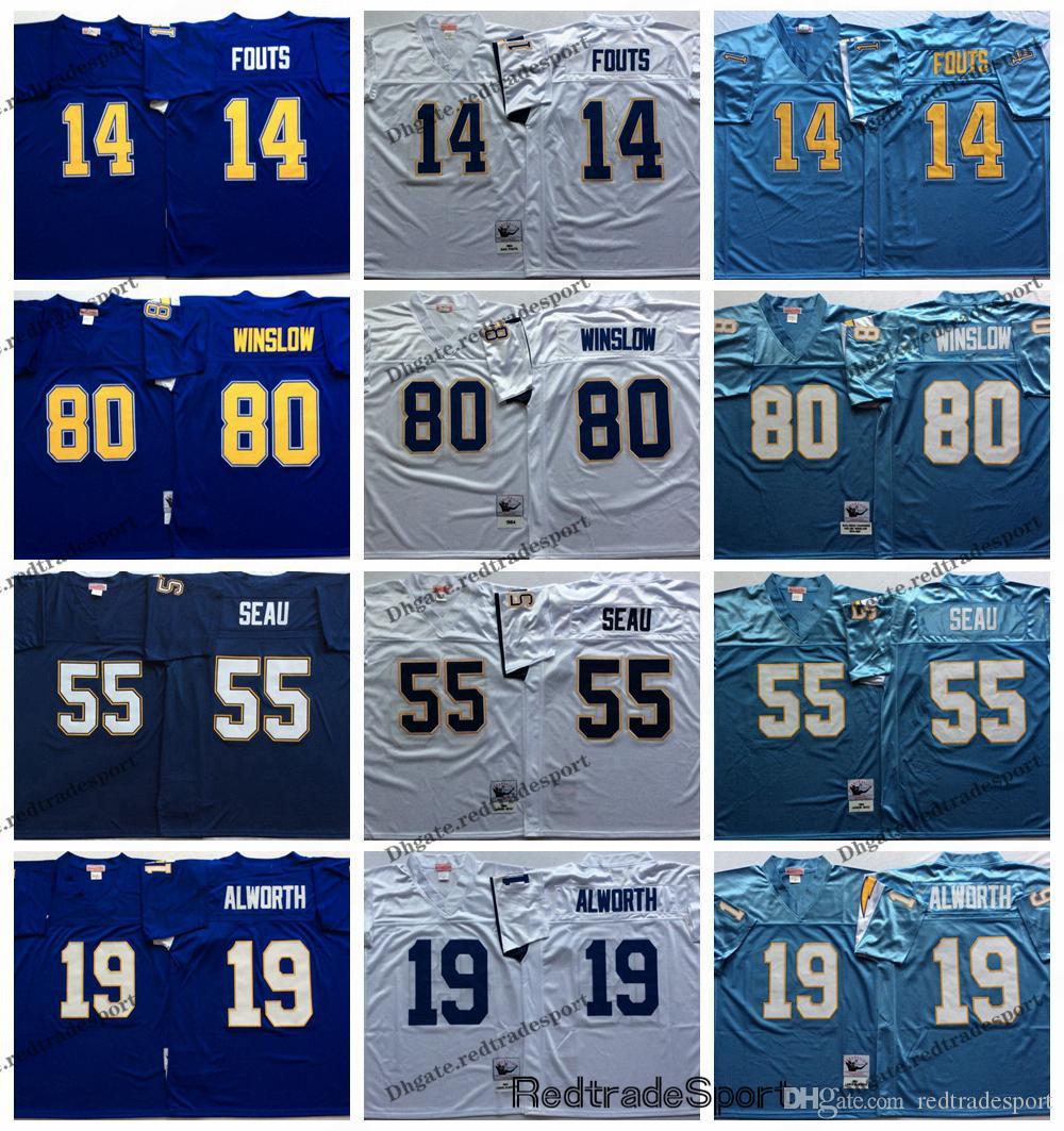 00acb7324 2019 Vintage San Diego Junior Seau Chargers 14 Dan Fouts 55 Junior Seau 19  Lance Alworth 80 Kellen Winslow Football Jerseys From Redtradesport, ...