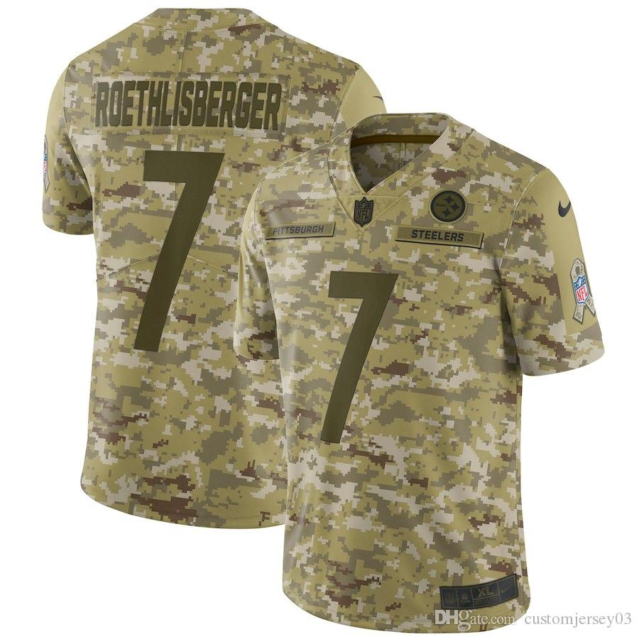 2019 Men's Pittsburgh Steelers #7 Ben Roethlisberger Camo Salute to