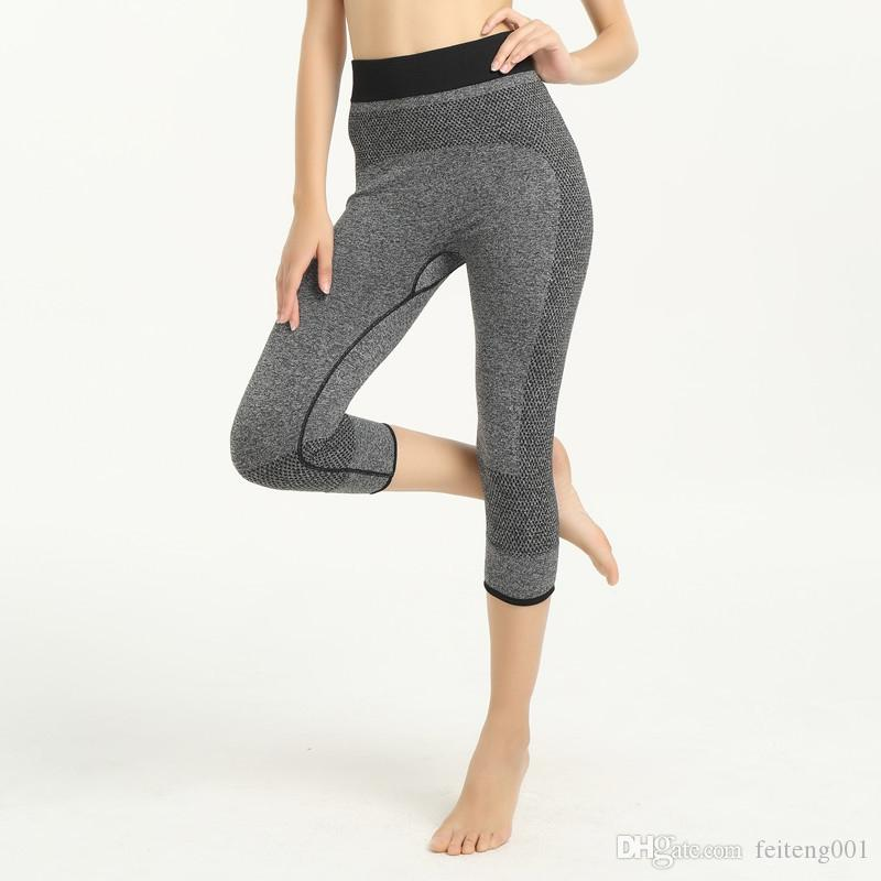 ad624b5219895d 2019 JIGERJOGER 2018 New Spring Melange Grey Black Seamless Sports Capris  Leggings Shorts Fitness Outdoor Fast Dry Compression Tights #484659 From ...