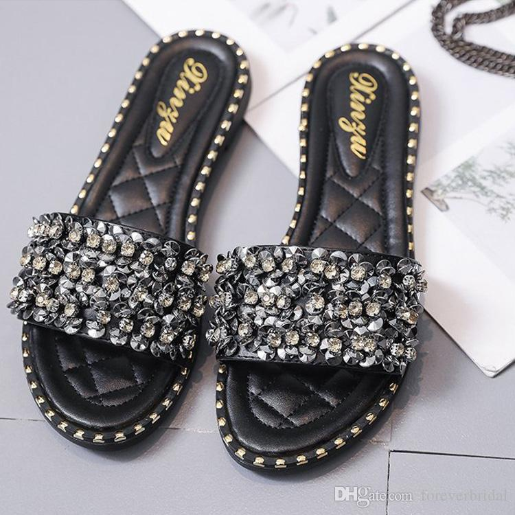 8862ad79 Spring Summer 2019 Diamond Flat Slippers Women Beach Slippers Crystal  Designer Shiny Ladies Sandals Slides Shoes For Wedding Lace Wedding Shoes  Uk Light ...