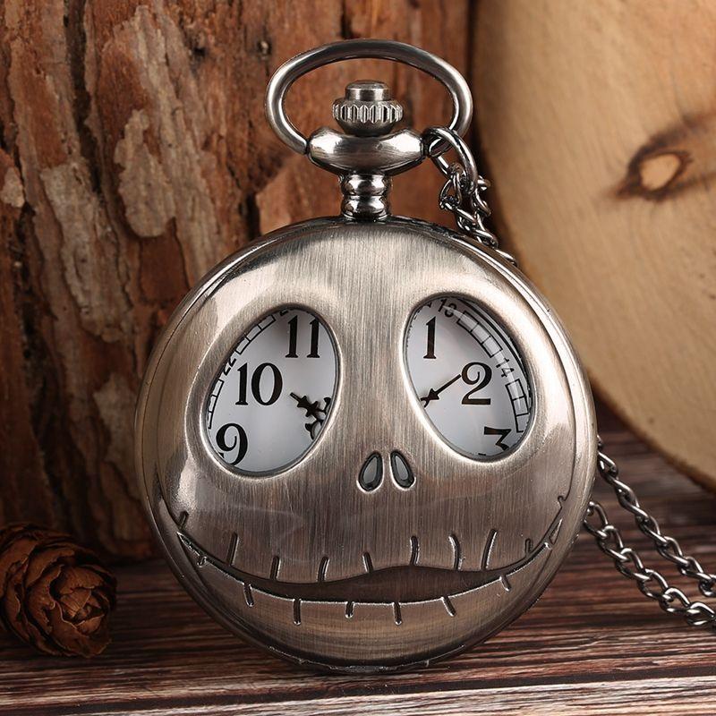 Tim Burton 크리스마스 전의 악몽 석영 주머니 시계 Retro Frog 큰 눈 Jack Skellington Necklace Pendant Skull Watch