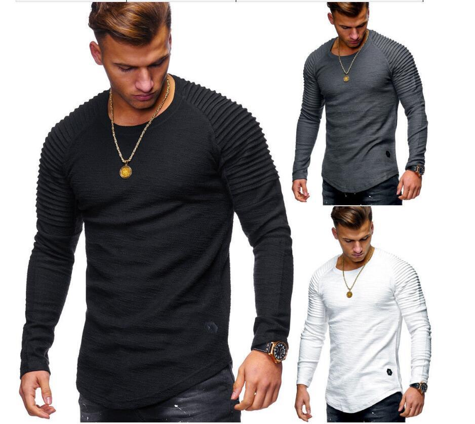 842d0cbf02 2019 Explosion models men's round neck Slim solid color long-sleeved t-shirt  striped pleated raglan sleeves European and American men's shir