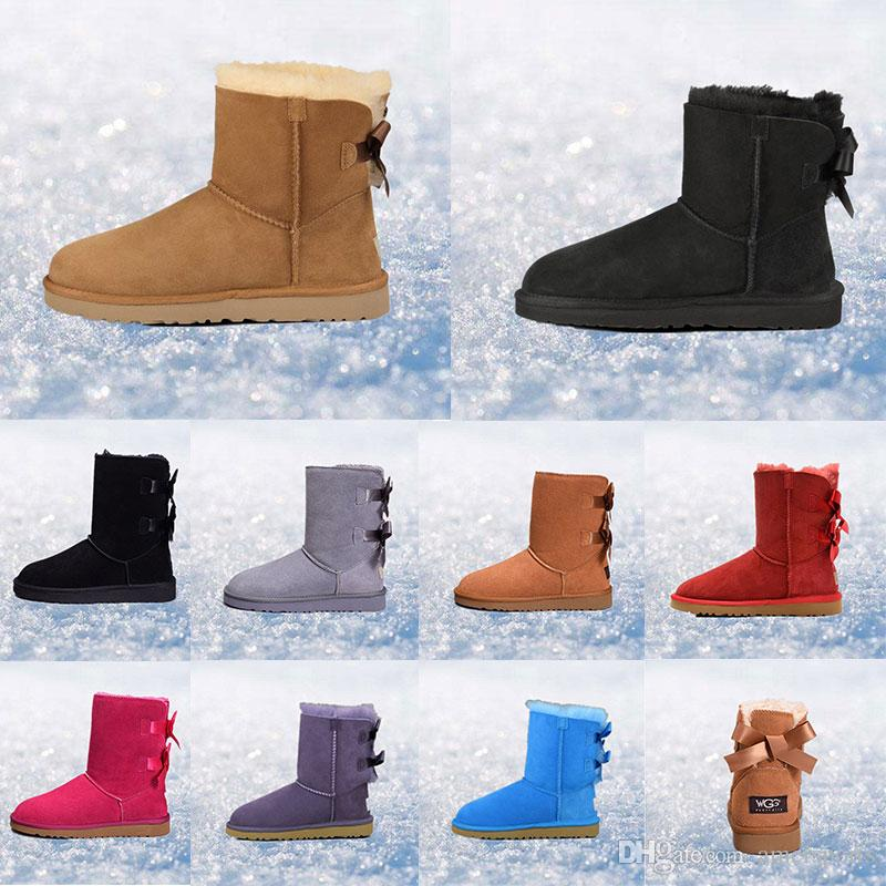 a87bb76d62e 2019 women boots Australia Classic snow Boots WGG tall real leather Bailey  Bowknot girl winter desinger Keep warm size 36-41