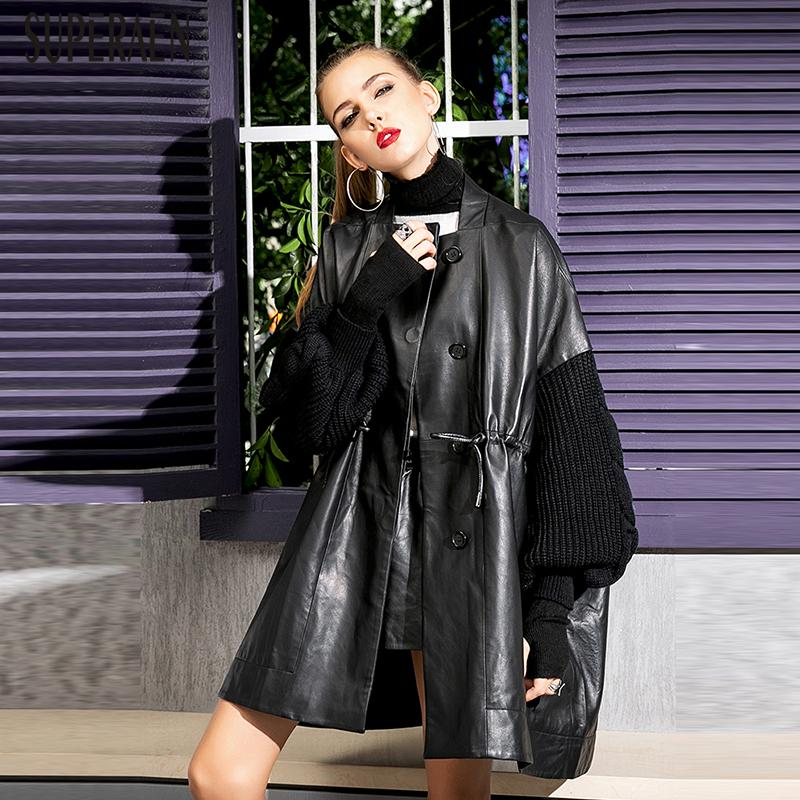 556a9a6bd61 SuperAen New Fashion Leather Trench Coat for Women New Spring And ...