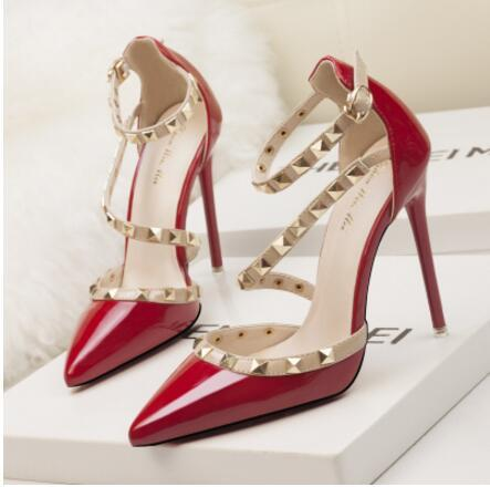 Fetish red high heels women designer shoes patent leather ladies wedding shoes rivets gladiator sandals Dress sexy pumps valentine shoes 8cm