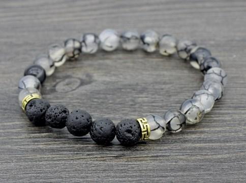 330991567912 8mm vg535 ajustado Charm Black dragon bead negro lava volcánica Pulsera de  bolas de aceites esenciales difusor mujeres