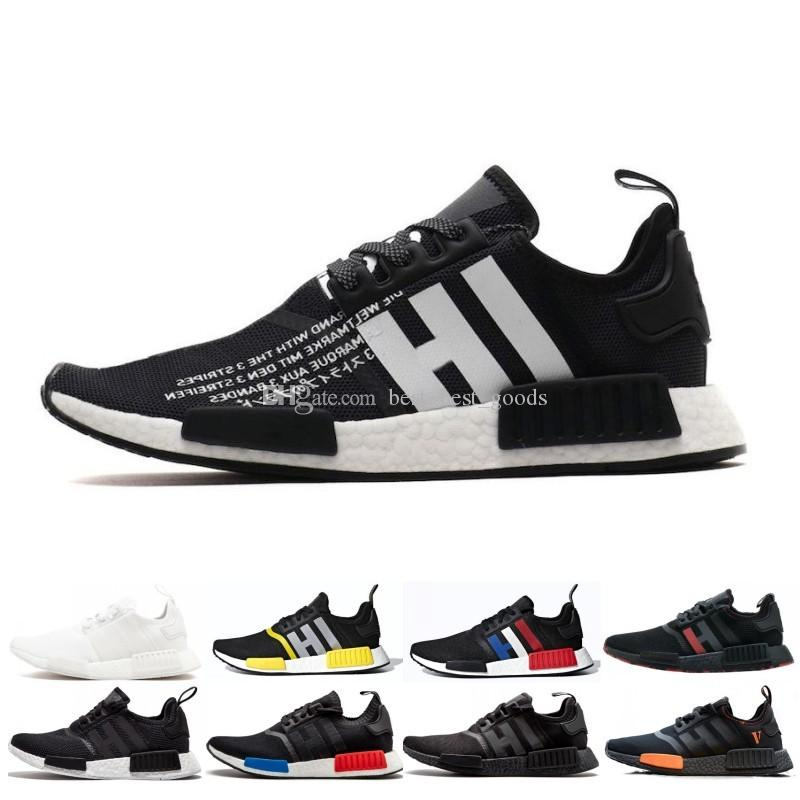 b3af15719 2019 NMD R1 Primeknit Top Quality Running Shoes Classic Color Mesh ...
