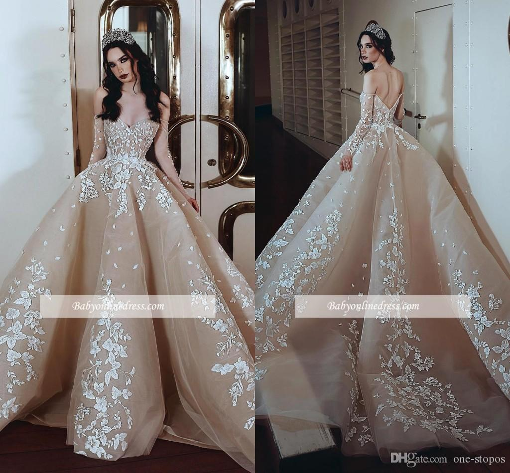 230502c22d1d Acquista Abito Da Sposa Champagne Ball Gown 2019 Appliqued Maniche ...