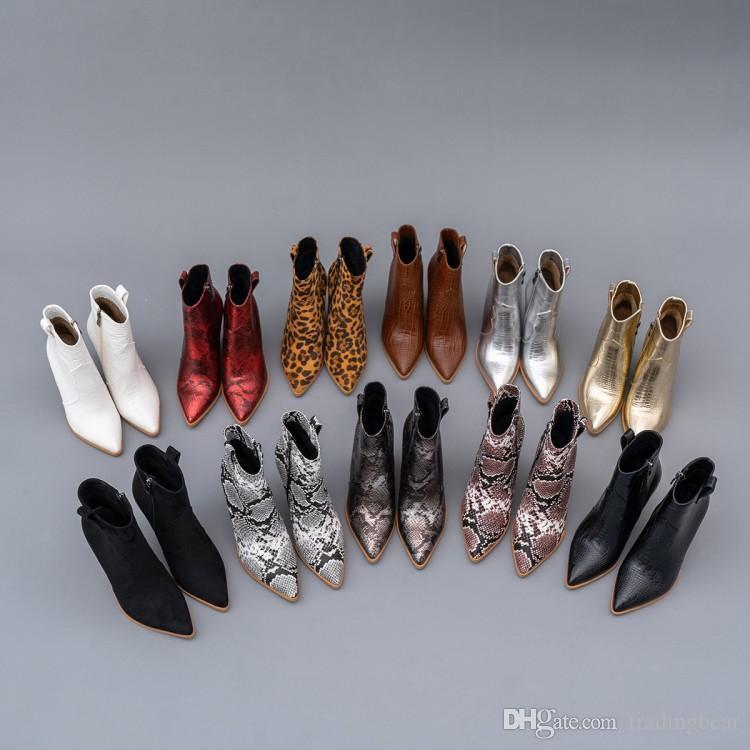 kadın ayak bileği patik tasarımcı çizme timsah PU deri kovboy çizmeleri kabartmalı wnter 42 ila 48 kadar bot Küçük büyük beden 33