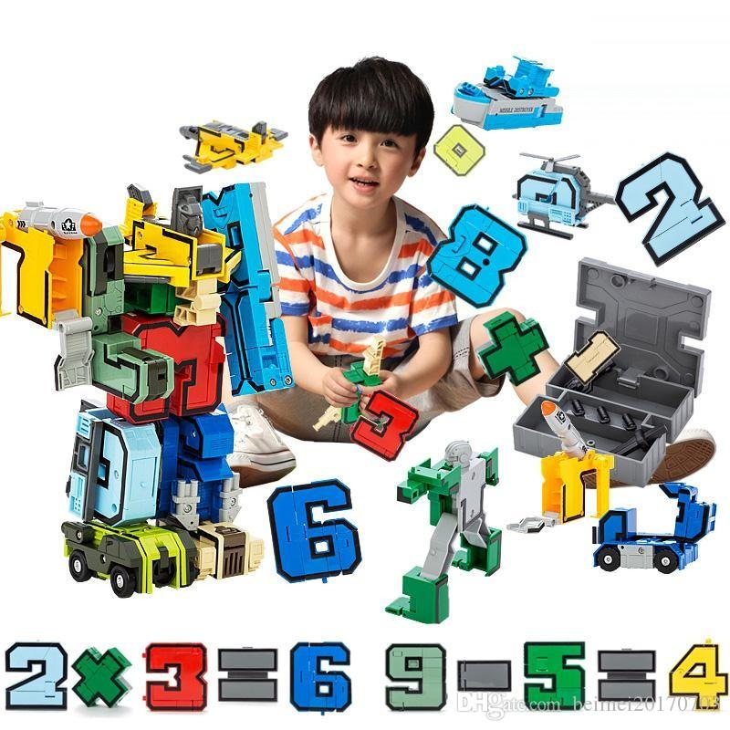 15pcs/set Digital DIY Building Blocks Assembly Deformation Robot Number Transformation Math Letters Montessori Educational Toys