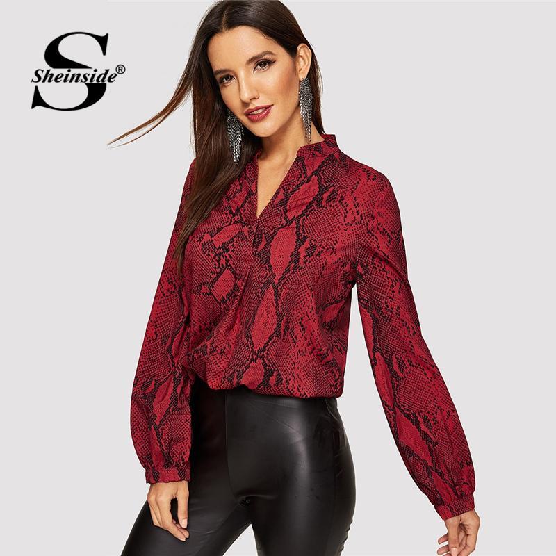 46eae010f94 2019 Sheinside Women Blouses & Shirts Office Ladies V Cut Choker Neck Snake  Print Blouse Female Autumn Long Sleeve Shirt Womens Tops From Elizabethy,  ...