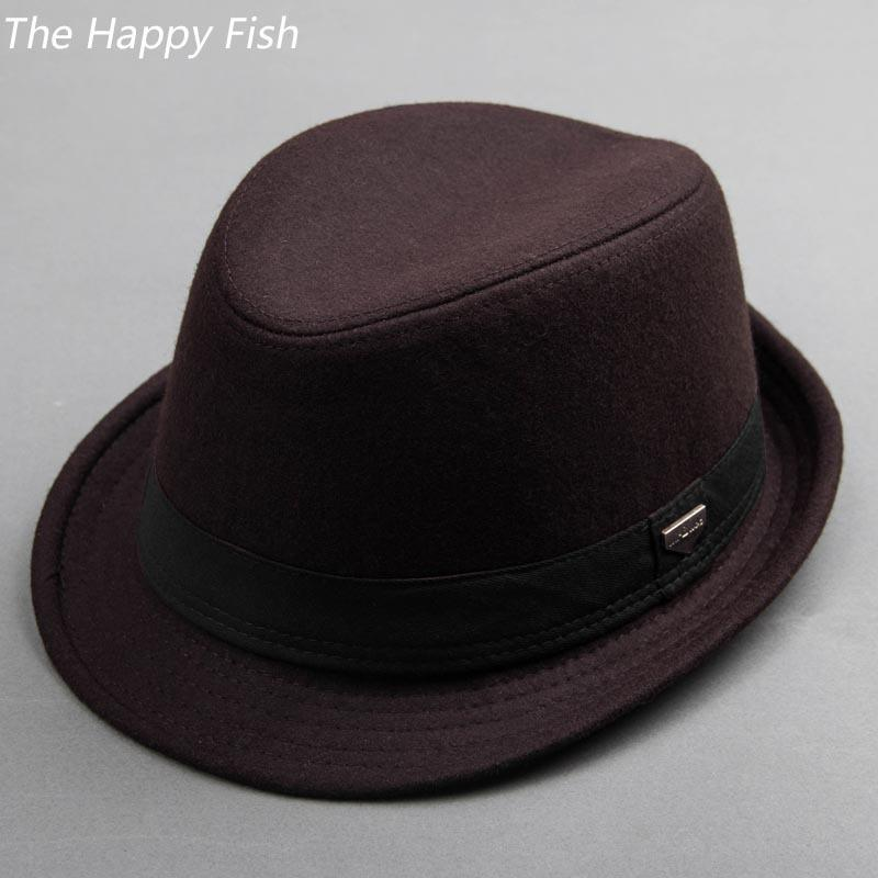 14d60790296bc Compre Sombrero Fedora Vintage Sombreros Fedora Negros Para Hombres Sombrero  De Fieltro De Lana Sombreros Para Hombres Sombreros De Cocina D19011102 A  ...